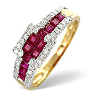 Ruby 0.95ct And Diamond 9K Gold Ring