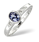 TANZANITE 0.34CT AND DIAMOND 9K WHITE GOLD RING