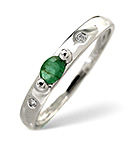 Emerald 0.17ct And Diamond 9K White Gold Ring