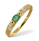 EMERALD AND 0.02CT DIAMOND RING 9K YELLOW GOLD