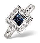 Sapphire 0.26ct And Diamond 9K White Gold Ring
