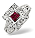 Ruby 0.28ct And Diamond 9K White Gold Ring