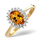 CITRINE 7 X 5MM AND DIAMOND 9K GOLD RING