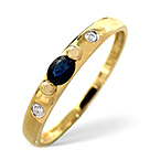 SAPPHIRE AND 0.02CT DIAMOND RING 9K YELLOW GOLD