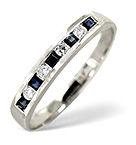 SAPPHIRE 0.20CT AND DIAMOND 9K WHITE GOLD RING