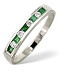EMERALD 0.15CT AND DIAMOND 9K WHITE GOLD RING