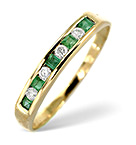 EMERALD 0.15CT AND DIAMOND 9K GOLD RING
