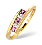 0.21CT PINK SAPPHIRE AND DIAMOND RING 9K YELLOW GOLD