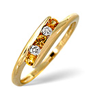 9K GOLD DIAMOND AND YELLOW SAPPHIRE TWIST RING