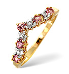 PINK SAPPHIRE AND 0.13CT DIAMOND RING 9K YELLOW GOLD