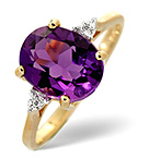 AMETHYST 2.15CT AND DIAMOND 9K GOLD RING