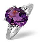 AMETHYST 2.15CT AND DIAMOND 9K WHITE GOLD RING