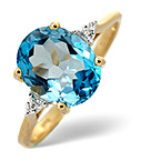 Blue Topaz 2.60CT And Diamond 9K Yellow Gold Ring