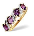 Amethyst 0.74ct And Diamond 9K Gold Ring