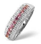9K White Gold Diamond and Pink Sapphire Ring 0.10ct