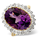 Amethyst 5.20ct And Diamond 9K Gold Ring