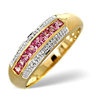 PINK SAPPHIRE AND 0.19CT DIAMOND RING 9K YELLOW GOLD