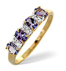 TANZANITE 0.68CT AND DIAMOND 9K GOLD RING
