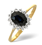 SAPPHIRE 0.95CT AND DIAMOND 9K GOLD RING