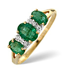 Emerald And 0.03CT Diamond Ring 9K Yellow Gold