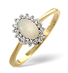 OPAL 6 X 4MM AND DIAMOND 18K GOLD RING