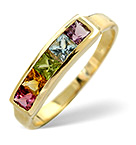 MULTI GEM STONE 9K YELLOW GOLD RING