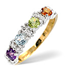 MULTI GEM STONE AND DIAMOND 9K GOLD RING