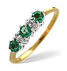 EMERALD & 0.01CT DIAMOND RING 9K YELLOW GOLD