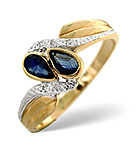 SAPPHIRE 0.50CT AND DIAMOND 9K GOLD RING