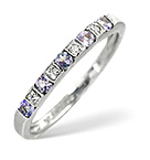 TANZANITE 0.18CT AND DIAMOND 9K WHITE GOLD RING