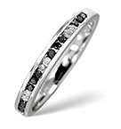 BLACK DIAMOND 0.10CT AND DIAMOND 9K WHITE GOLD RING