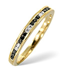 BLACK DIAMOND 0.10CT AND DIAMOND 9K GOLD RING