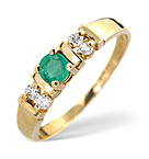 EMERALD 3.75MM AND DIAMOND 18K GOLD RING