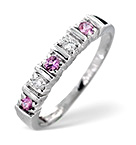PINK SAPPHIRE AND 0.08CT DIAMOND RING 9K WHITE GOLD