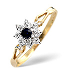 SAPPHIRE 2.75MM AND DIAMOND 9K GOLD RING