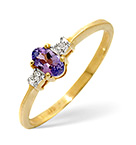 TANZANITE 0.28CT AND DIAMOND 9K GOLD RING