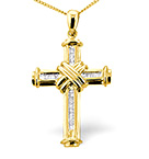 CROSS PENDANT 0.26CT DIAMOND 9K YELLOW GOLD