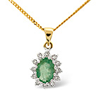 Emerald 0.80CT And Diamond 9K Yellow Gold Pendant