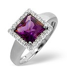 9K White Gold Diamond and Amethyst Ring 0.17ct