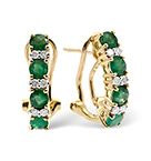EMERALD 1.10CT AND DIAMOND 9K YELLOW GOLD EARRINGS