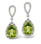 PERIDOT & 0.21CT DIAMOND EARRINGS 9K WHITE GOLD