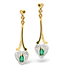 EMERALD & 0.01CT DIAMOND DROP EARRINGS 9K YELLOW GOLD