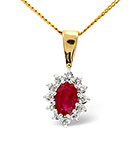Ruby 6 x 4mm And Diamond 18K Yellow Gold Pendant
