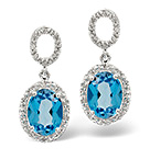 BLUE TOPAZ & 0.18CT DIAMOND EARRINGS 9K WHITE GOLD