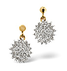 CLUSTER EARRINGS 0.50CT DIAMOND 9K YELLOW GOLD
