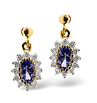 TANZANITE 0.48CT AND DIAMOND 9K YELLOW GOLD EARRINGS