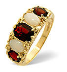 Garnet 7 x 5mm And Opal 6 x 4mm 9K Gold Ring