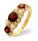Garnet And Pearl 9K Yellow Gold Ring