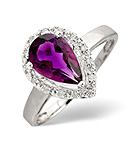 AMETHYST 1.14CT AND DIAMOND 9K WHITE GOLD RING