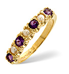 AMETHYST 0.32CT AND PEARL 9K GOLD RING